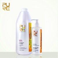 PURC 1000ML Brazilian chocolate keratin treatment 12% Formaldehyde straighten hair product and 300ml purifying shampoo hair care