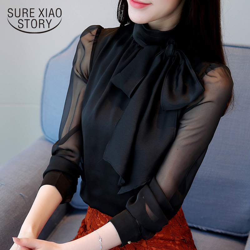 2019 New Summer Fashion Tunic Women Blouse Shirts Long Sleeve Tie Bow Chiffon Turtleneck Formal Women White Black Shirts 0599 30