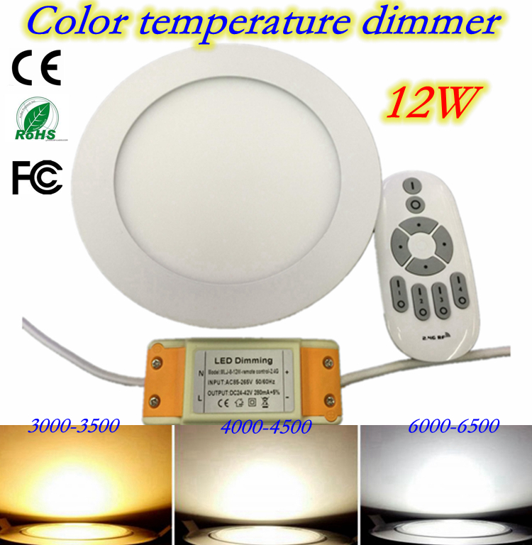 12W Ceiling Surface Mounted led Downlight Round Panel light Ultra thin Ceiling Lamp Kitchen Room light with 2.4G Remote control