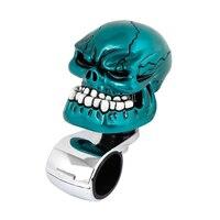 Promoção! Azul Cabeça Do Crânio Do Estilo do carro Volante Knob Handle Tom Silver