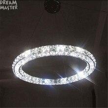 Lámpara de anillo de iluminación LED de araña, luces LED de tres lados, círculo moderno para el hogar, accesorios de led individual de arte de diamante para colgar