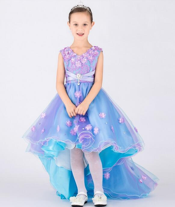 2017 Baby girls elegant train lace dresses children satin blue flowers kids long tail evening gown party wedding christmas