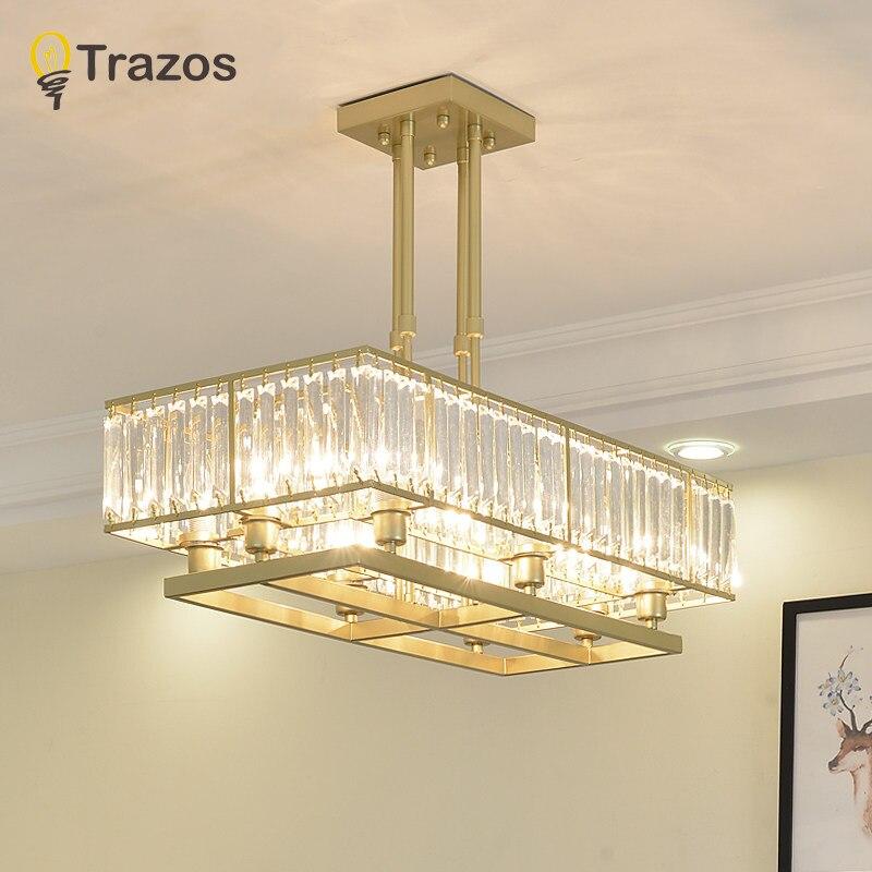 TRAZOS Plated Crystal Pendant Light K9 Crystal decorative pendant lamp bedroom brushed crystal pendant lighting lustre 110 240V in Pendant Lights from Lights Lighting