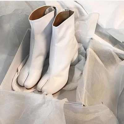 1949a45e79 Zapatos Mujer New Designer Tabi Women Boots Chunky Heels High Genuine  Leather Silver White Black Women Ankle Booties