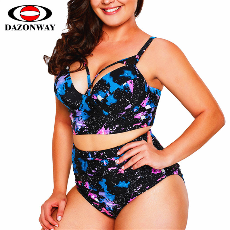 2019 Mew Summer Swimsuit Plus Size Women Underwire Bikini Set With Chest Pad Triangle High Waist