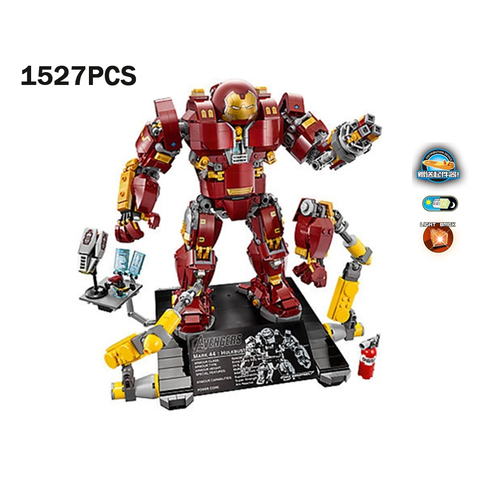 Super hero ironman marvels avenger Infinity Wars Hulkbuster Ultron Edition building block mk43 figure brick 76015 toy with light цена