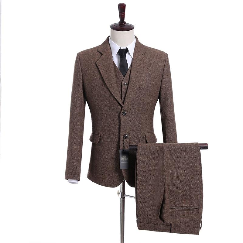 Handsome Groomsmen Wool blend Groom Tuxedos Mens Wedding Dress Man Jacket Blazer Prom Dinner (Jacket+Pants+Tie+Vest) A30