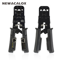 NEWACALOX 4In1 Network Crimping Tool Multifunction Pliers Stripping Cable Tester RJ45 Electric Wire Rope Crimper Cutter
