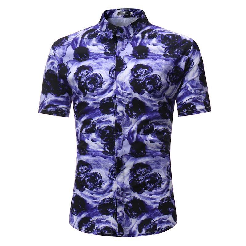 Male Shirt Short-Sleeves Tops Slim Casual Purple flower Mens Dress Shirts Slim Men Shirt