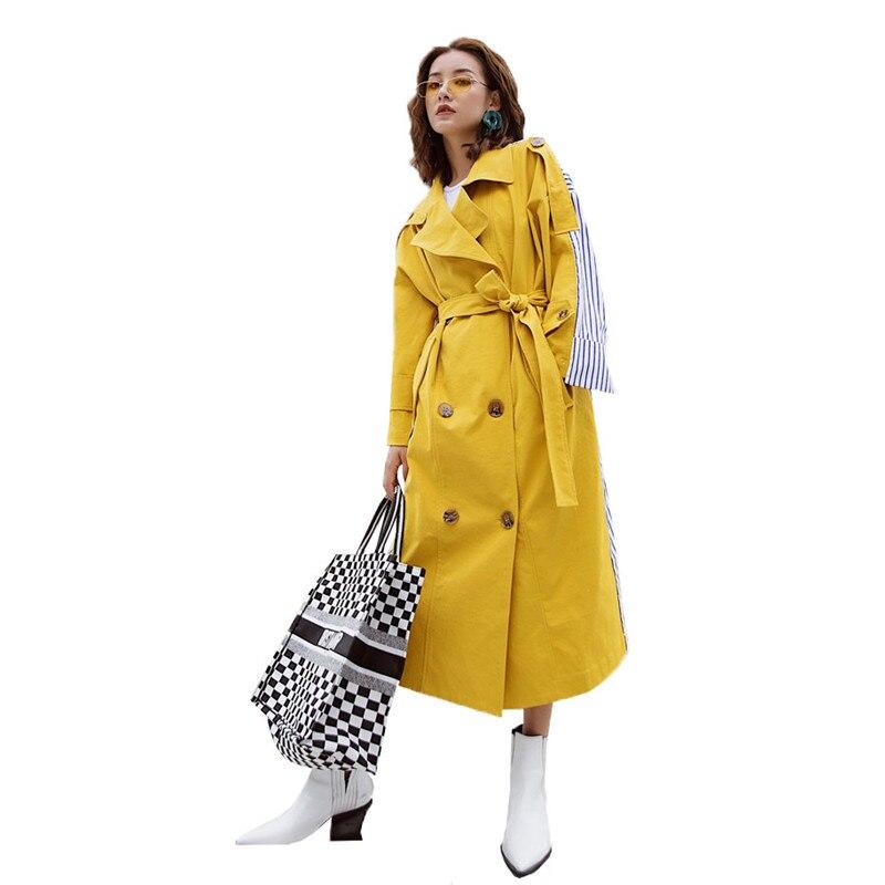 [EAM] 2019 nouvelle mode rayure Patchwork ceintures retour rayé coupe-vent longue Section col rabattu personnalité vêtements manteau BD