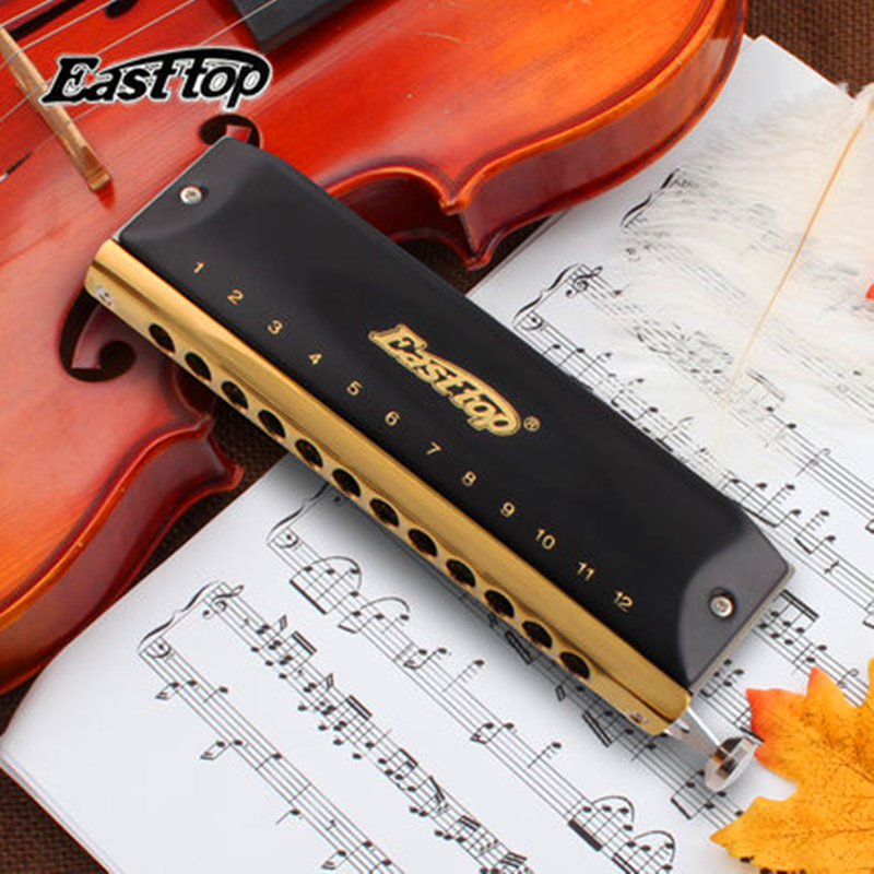 Easttop Chromatic Harmonica ABS Comb 12 Hole 48 Tone C Key professional Armonica Cromatica Mouth Ogan woodwind music InstrumentEasttop Chromatic Harmonica ABS Comb 12 Hole 48 Tone C Key professional Armonica Cromatica Mouth Ogan woodwind music Instrument