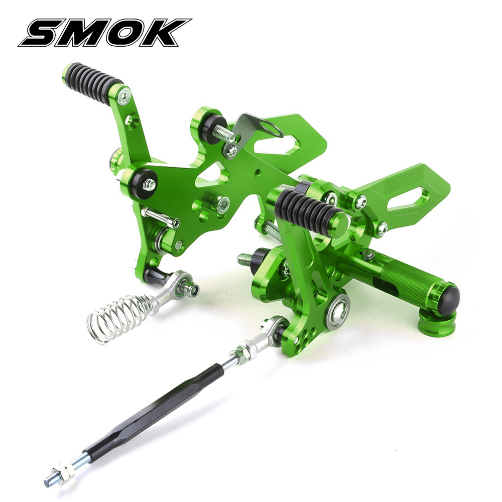 SMOK Motorcycle Adjustable Right Left Rearset Footrest Foot Rest Pegs For Kawasaki Ninja 250 300 Z300 2013 2014 2015 2016 motorcycle racing engine case cover slider set for kawasaki ninja 300 z300 2014 2015