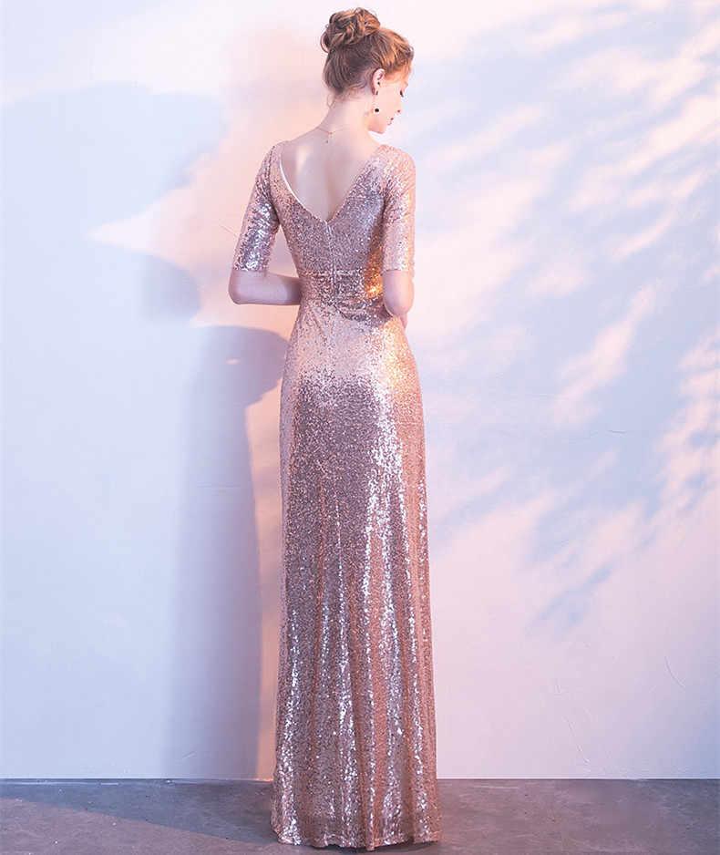JaneVini מבריק עלה זהב פאייטים שושבינה שמלות עם שרוולים אלגנטי V-צוואר ארוך מסיבת חתונת שמלת 2018 נשים שמלות רשמיות