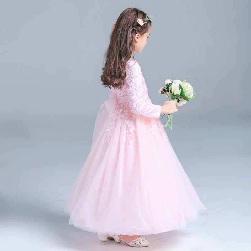 Элегантные розовые вечерние платья с длинными рукавами для девочек от 5 до 13 лет, Осень-зима 2018 г. Новые изящные торжественные Свадебные платья для подростков