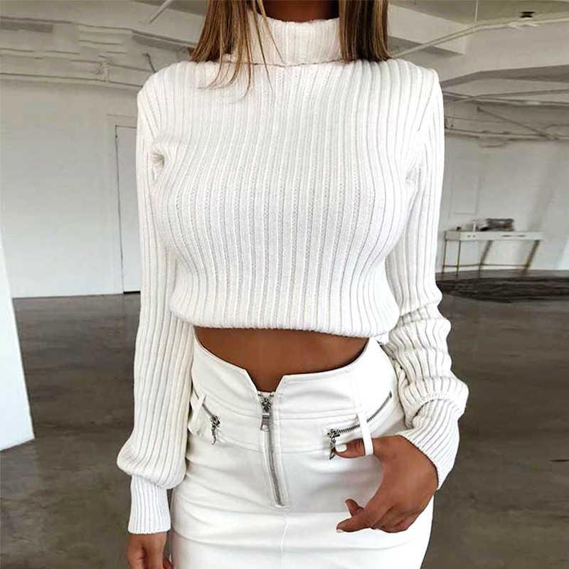 Women เสื้อกันหนาวสบายๆผ้าฝ้ายฤดูหนาวแขนยาว Crop Top 2018 ฤดูใบไม้ร่วงถัก Pullover สุภาพสตรีเสื้อกันหนาวคอหญิง Mujer