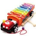 8 Notas De Madera Xilófono Glockenspiel Pull Tren De Juguete para Los Niños Regalo de Navidad Año Nuevo