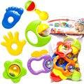 2016 Новый игрушки для Маленьких детей Детские Погремушки, Малышей Музыкальная Игрушка Пластиковые Рук Jingle Встряхивания Bell 6 шт./компл.
