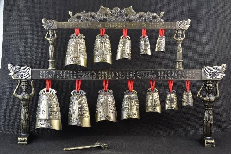 Cloches en laiton chinois Tibet dragon glockenspiel carillons dans l'ancien instrument de musique chinois artisanat en métal