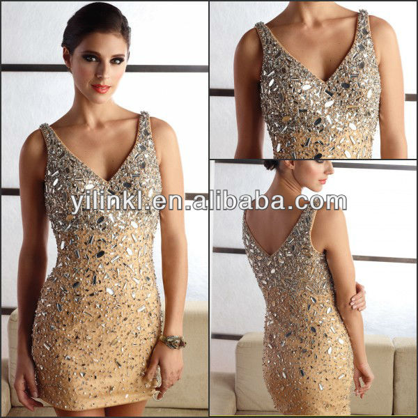 31849372bd15 Fashion Designer V-neck Spaghetti Strap Above Knee Indian Samples Sequins  Cocktail Dresses