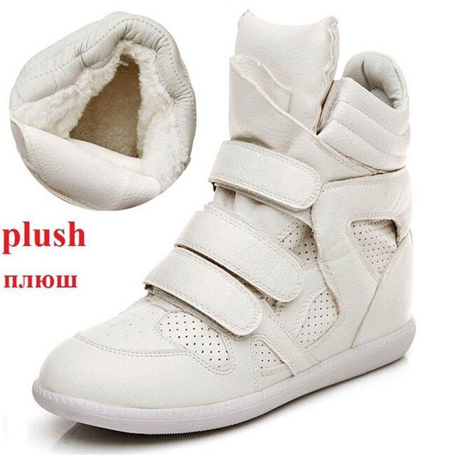 Winter Vrouwen Hoge Laarzen Enkellaarsjes Sneeuw Wig Haak Lus Ronde Neus Bottines Femme Katoen Pluche Binnenzool Witte Sneakers Botas mujer