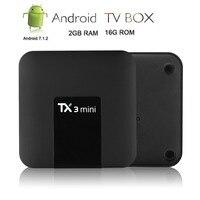 Satxtrem TX3 Мини Android 7.1.2 ТВ Box Smart ТВ H2.65 IP ТВ 4 K Декодер каналов кабельного телевидения Media Player Amlogic S905W 2G Оперативная память/16G Встроенная память 2,4G ...