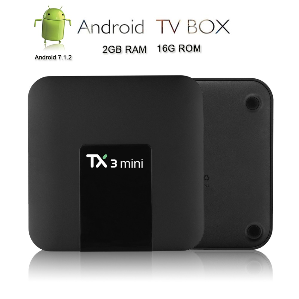 Satxtrem TX3 Mini Android 7.1.2 Tv Box Smart TV H2.65 IPTV 4 K Set Top Box Media Player Amlogic S905W 2G RAM/16G ROM 2,4G WiFi