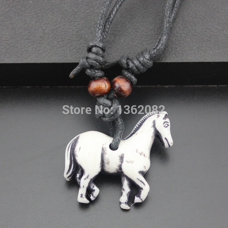 Tribal Style Imitation Bone Carved Horse Pendant Necklace Lucky Gift Mn469 Gift Hyundai Gifts Fungift Bag Clip Art Aliexpress