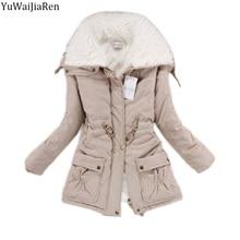 YuWaiJiaRen Winter Jacket Women Fashion Slim Cotton Coat Women's Thickness Overcoat Medium-long Casual Wadded Snow Outwear