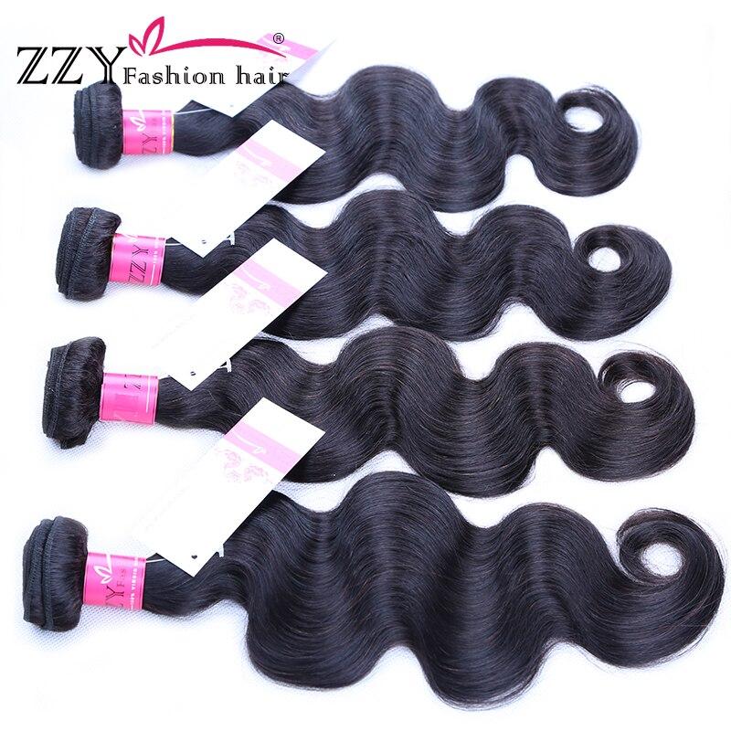ZZY Fashion hair 4 pcs Body Wave Human Hair Peruvian Hair Weave Bundles Non Remy Hair