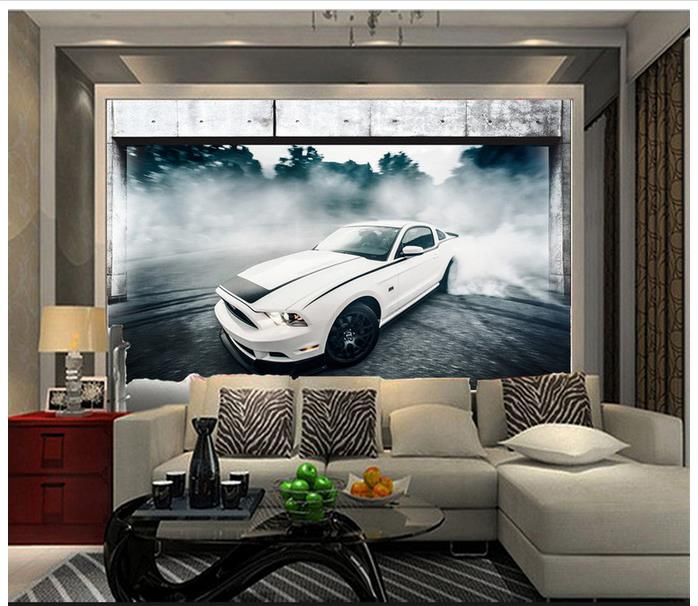 3d wallpaper 3d murals wallpaper for walls 3 d Beautiful 3 d car drift sitting room TV s ...