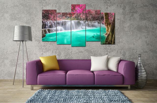 5 Panel Große Hd Gedruckt ölgemälde Lila Türkis Wasserfall Leinwand