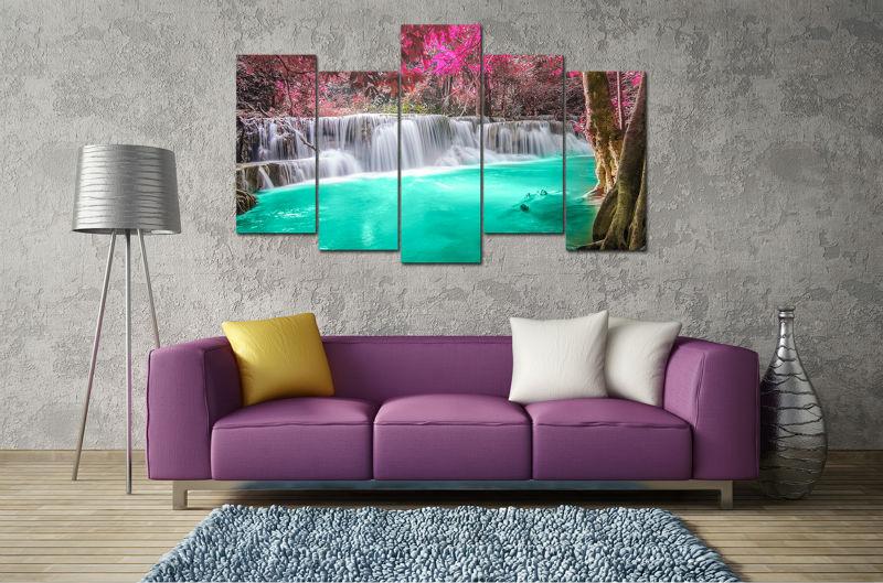 5 Panel Large HD Printed Oil Painting Purple Turquoise