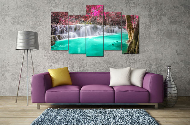 5 panel large HD printed oil painting purple turquoise waterfall canvas print home decor wall art & 5 panel large HD printed oil painting purple turquoise waterfall ...