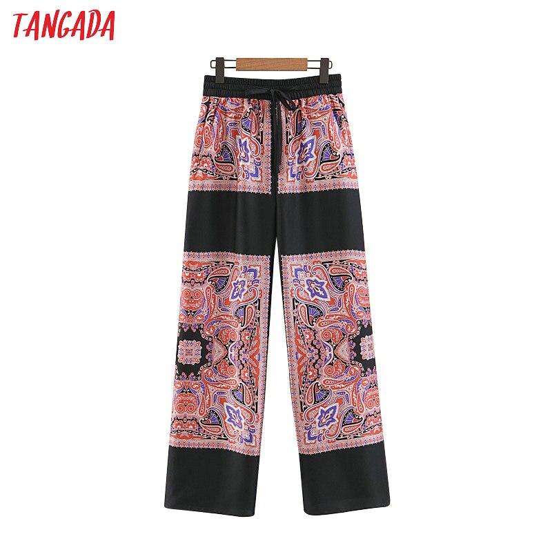Tangada women paisley print   wide     leg     pants   pantalon ladies boho style long   pants   loose female women bottoms 3Z31