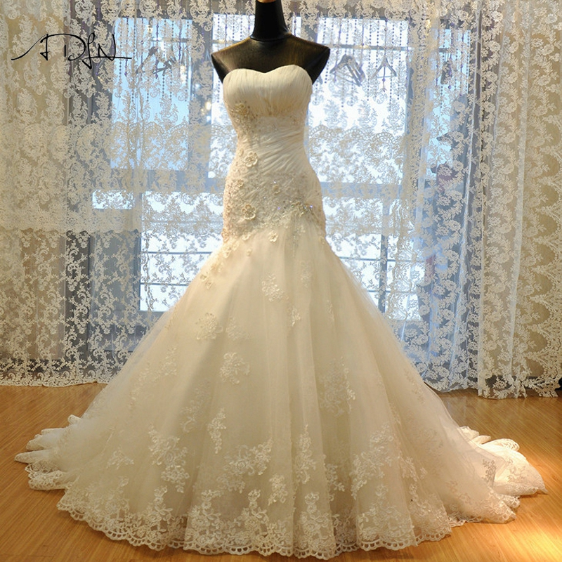 ADLN High Quality Lace Mermaid Wedding Dress White Ivory Sweep Train Corset Bridal Gown Customized Vestidos