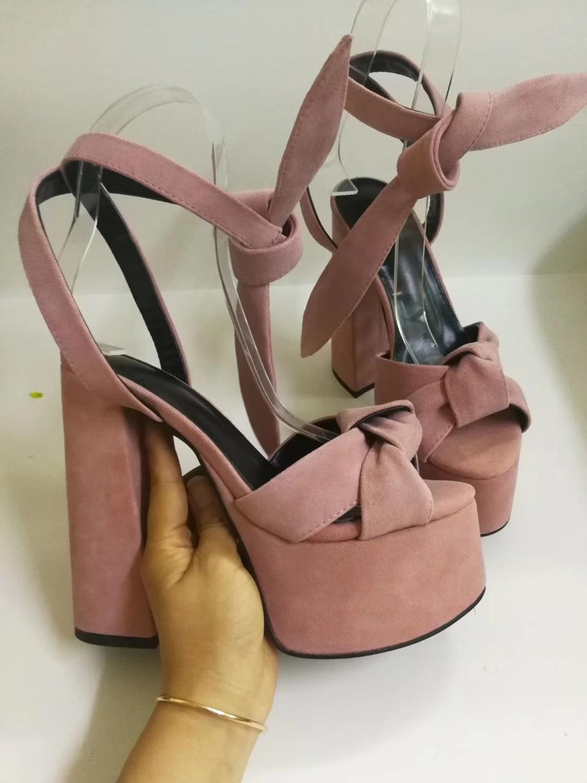 Grande Taille Femme Plateforme Strass Noeud daim synthétique T-Sandales Pompe
