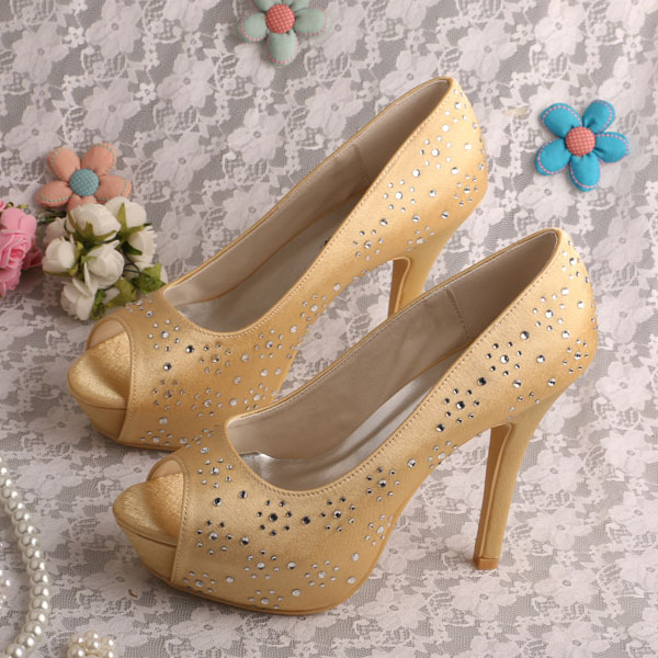 (20 Colors)Custom Handmade Super High Heels Platform Shoes Size 9 Wedding Gold Party Dropshipping