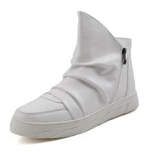 Мода 2016 года Для мужчин; кожаные сапоги Повседневное ковбойские сапоги с молнией на плоской подошве Обувь черный, белый цвет ботинки челси Botas Hombre sapatilhas X083118