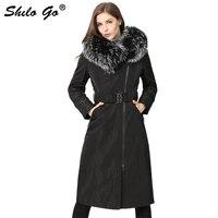 Womens Winter Elegant X Long Parkas Coats Thick Parkas Plus Size Belt Real Fox Fur Collar Hooded Rabbit Lining Outwear Fur Coat