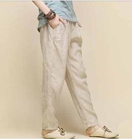 New Arrival Women Cotton Linen Trousers Female Summer White Wide Legged Pants Women Comfortable Cool Slacks