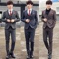 O envio gratuito de novas dos homens do sexo masculino estilo britânico terno de três-pedaço conjunto colete casuais moda Inverno 2016 da moda Coreana Metrosexual fino