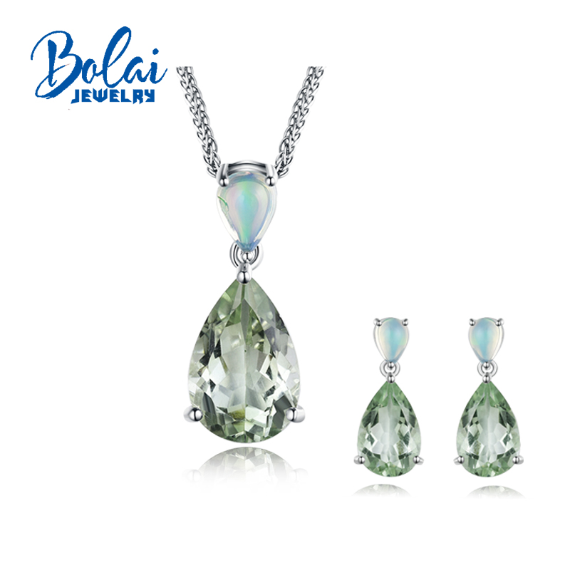 Bolaijewelry,natural opal and real green amethyst pendant and earring jewelry set 925 sterling silver for women anniversary gift bolaijewelry natural emerald pendant or necklace and ring and earring jewelry set 925 sterling silver for women anniversary gift