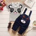 BibiCola moda childern roupas de verão conjuntos de roupas meninos panda bonito dos desenhos animados do bebê conjuntos de roupa dos miúdos meninos jardineiras conjuntos de verão