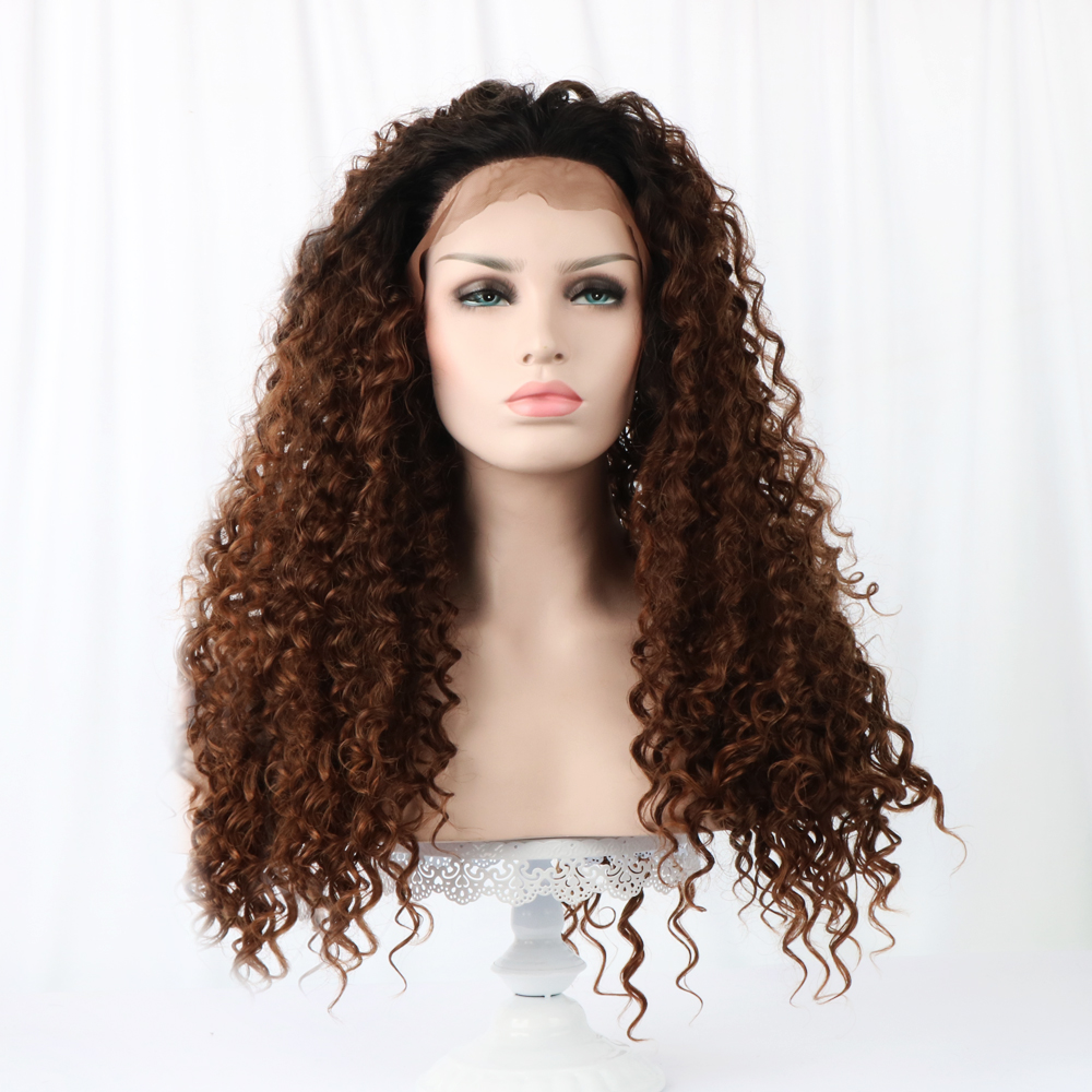 24 Long Curly Lace Front Wigs Synthetic Hair Brown
