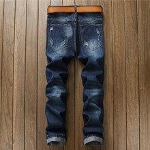 Newsosoo Новые мужские случайные отверстия знак патч разорвал джинсы Мода темно-синий джинсовые брюки Длинные брюки джинсы hommes
