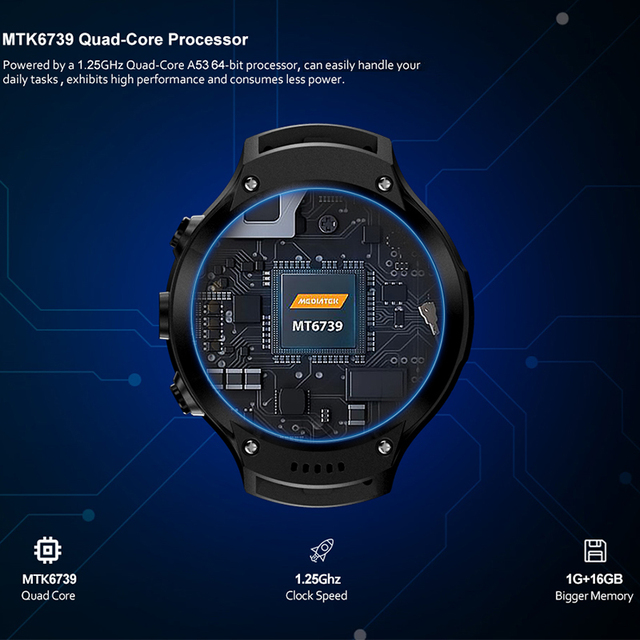 Android 7.1 LTE 4G Smart Watch 1 + 16GB Memory Support SIM card WIFI GPS Google Map Smartwatch 5MP +5MP Camera like M7/8 Z28 W2