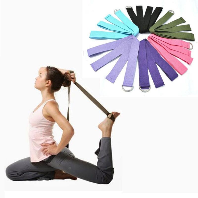 New Multi-Colors Women Yoga Stretch Strap D-Ring Belt Fitness Exercise Gym Rope Figure Waist Leg Resistance Fitness Bands Cotton