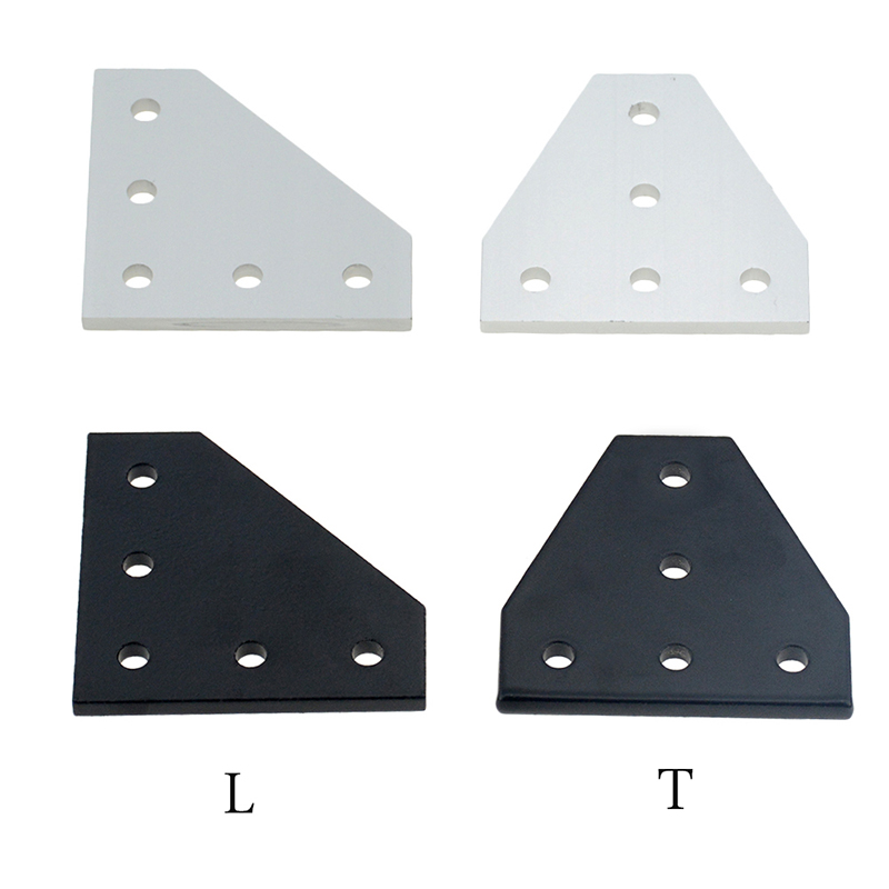 2pcs/lot 5 Hole Black/Silver Joint Board Plate Corner Angle Bracket Connection Joint Strip For 2020 3030 4040 Aluminum Profile