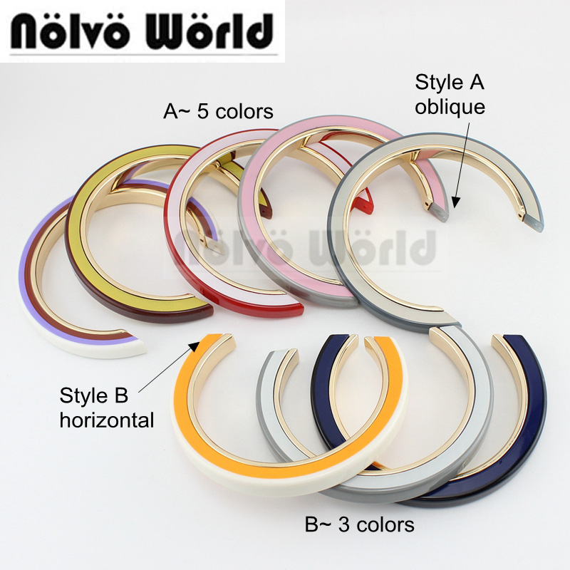 1 Pieces,13 Colors 15cm Semicircle Acrylic Alloy 3 Layers Bag Handle Oblique Horizontal 2 Carriers,women Bucket Bags Handles
