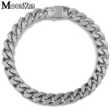 Moorvan мужской Снаряженный модный браслет-цепочка серебристого цвета вечерние модные матовый из нержавеющей стали 8 мм женские украшения дружеский подарок